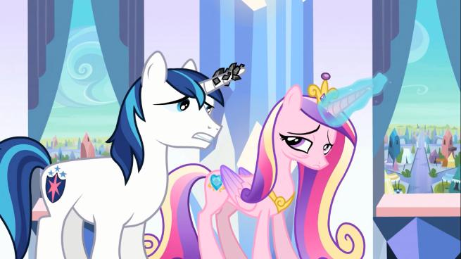 By the way, why was Cadence (and not Shining Armor) holding up a shield to begin with?