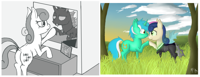 This is the extent of Bon Bon changeling art I could find.
