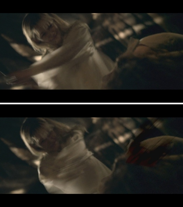 Top image is the frame before the blood effect, and the bottom is the very next frame.  Notice the wrench is nowhere near her head, there's no WOUND on her head, and the blood appears to come from a straight line cut.  It also looks like it's coming out of her HAIR instead of her HEAD.