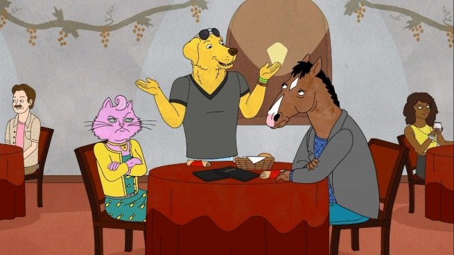 """Hey Bojack!  How's it going?  Mind if I completely ignore what you're saying and do things that are blatantly awkward, and then acknowledge how awkward I'm being without explaining why I'm acting this way?""     ""Actually, I would mind.""    ""AWKWARD!!!!!!"""