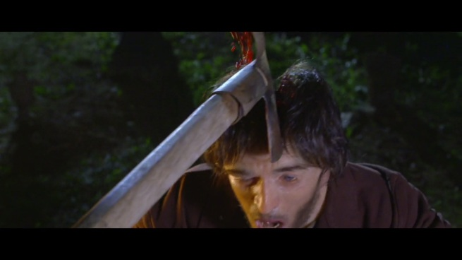 I don't care how strong a vampire is. There's no fucking way a shovel could slice bone like that!!