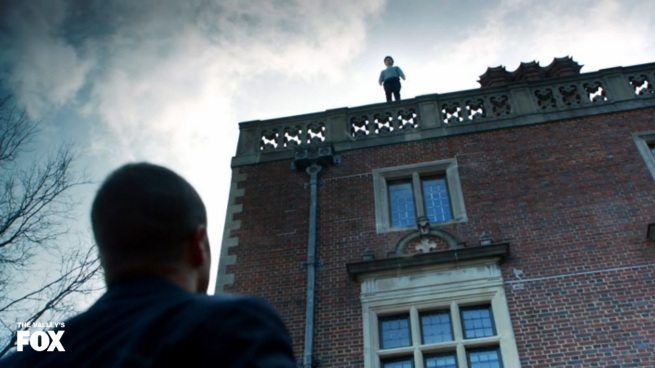 """""""Hey Bruce! What are you doing up there?"""" """"I've gotta learn how to fly if I want to be a super hero! I'm thinking Birdman!"""" """"Isn't that name already taken?"""" """"Damn it! I'll figure something out!"""""""