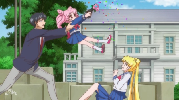 """AHHHH!!!!!!""     ""Usagi, it was a toy gun.""     ""AHHHHHHH!!!!!!!!""     ""USAGI!  You're okay!!""     ""AHHHHHHHHHHHHHH!!!!!!!!"""