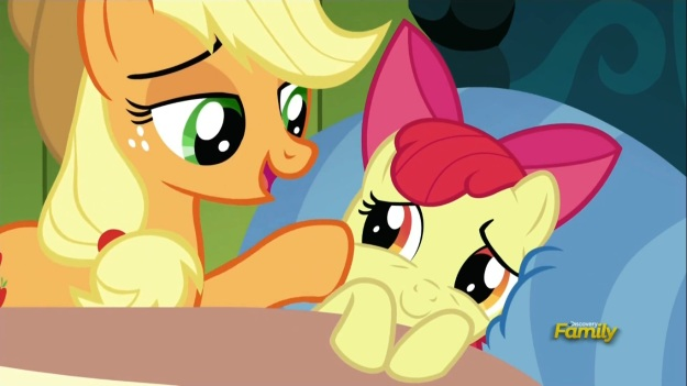 """Once you get your Apple themed Cutie Mark, you'll feel much better!""     ""But I might NOT get an Apple Cutie Mark, right?""     ""Sure Apple Bloom.  Whatever you say!"""