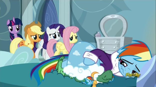 """We're all here for you Rainbow Dash!""     ""How?  Don't I live in a giant cloud?""     ""Magic, now shut up!"""