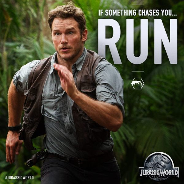 No matter what it is, just keep running.  Dinosaurs, cops, Parks and Rec fans, doesn't matter.