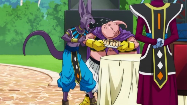 """I'M THE GOD OF DESTRUCTION YOU PINK DOLT!!""     ""Buu God of Destruction too!""     ""NO YOU AREN'T!!!"""