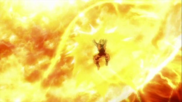 """""""Oh so THIS is what it's like when people slowly collapse under the weight of my spirit bomb. It kind of sucks."""""""