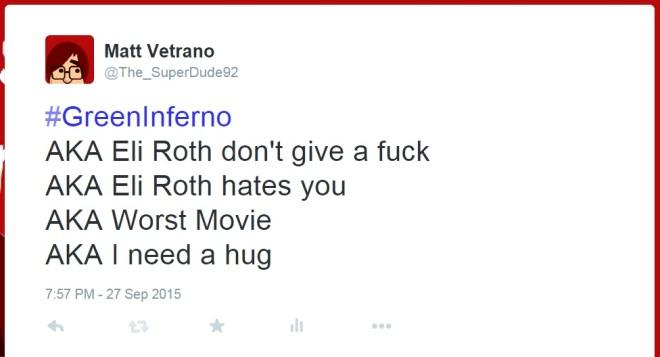 I regret that tweet a bit. I doubt that Eli Roth hates you or anyone else.