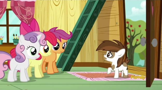 """Cutie Mark Crusaders!  My gutters need cleaning!""     ""We can get our Cutie Marks in landscaping!!""     ""Oh yeah!  Totally!  Now I need them done by Thursday.  Bring your own ladder."""