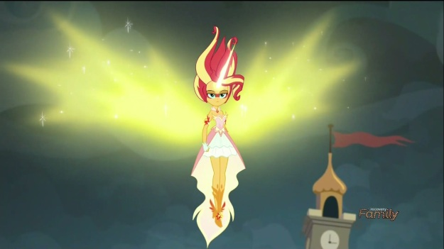 """""""I am the hope of the universe! The answer to all living things that cry out in peace! I am Sunset Shimmer, and I am… an Alicorn now?"""""""